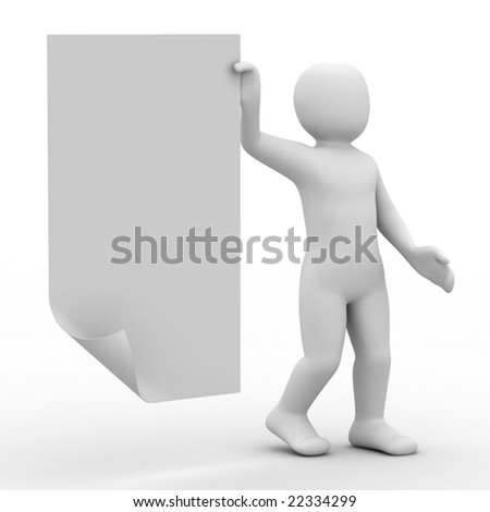 3d person and form on white background