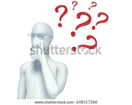 3d person and question marks - stock photo