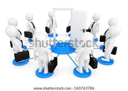 3d person businessmans around Door on a white background - stock photo