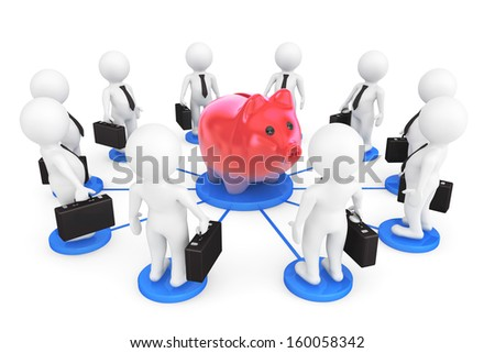 3d person businessmans around Piggy Bank on a white background