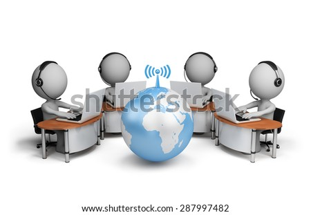 3d person, call center. 3d image. White background. - stock photo