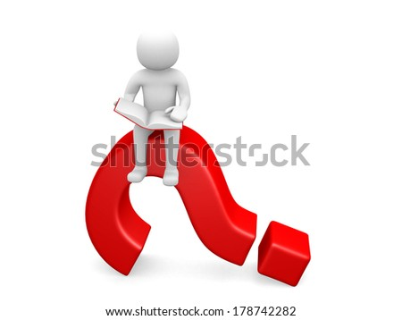 3d person character sitting on a question mark - stock photo