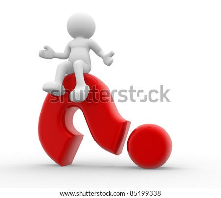 3d person character sitting on a question mark. 3d render illustartion - stock photo