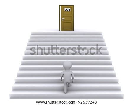3d person climbing stairs that have a door on top of them - stock photo