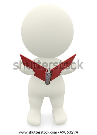 3D person holding a notebook isolated over a white background - stock photo