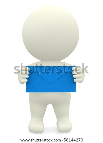 3D person holding an envelope with both hands over a white background - stock photo