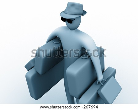 3d person holding suitcases. - stock photo