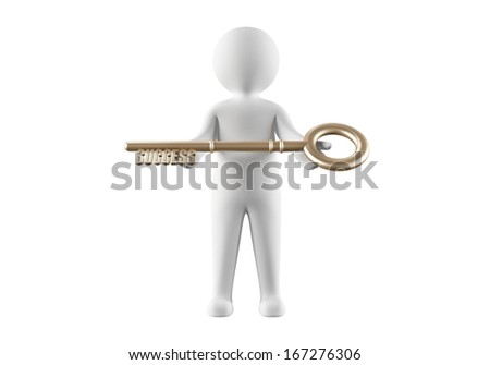 3D person holding the key to success - stock photo