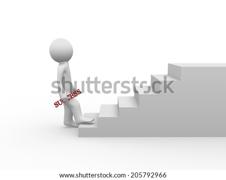 3D person is climbing stairs with success word - stock photo