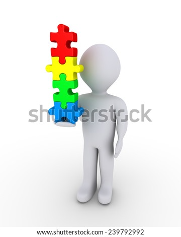 3d person is holding vertically four different puzzle pieces - stock photo