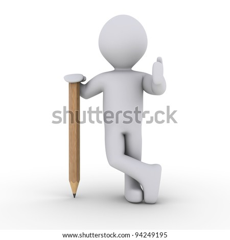 3d person is leaning on a wooden pencil - stock photo