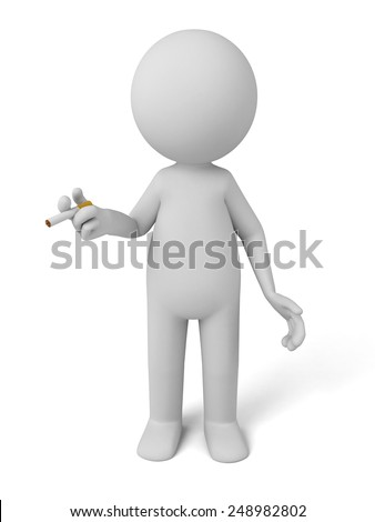 3d person is smoking. 3d image. Isolated white background.