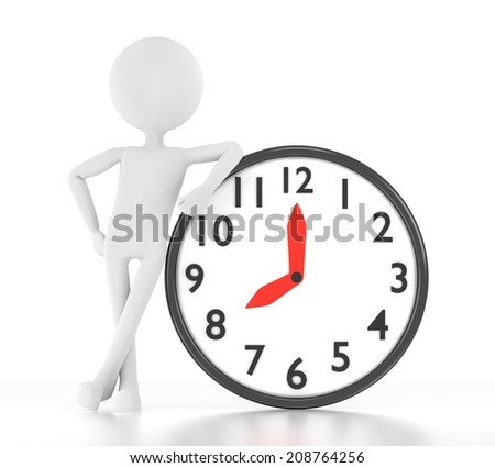 3d person leans on clock that says 08:00