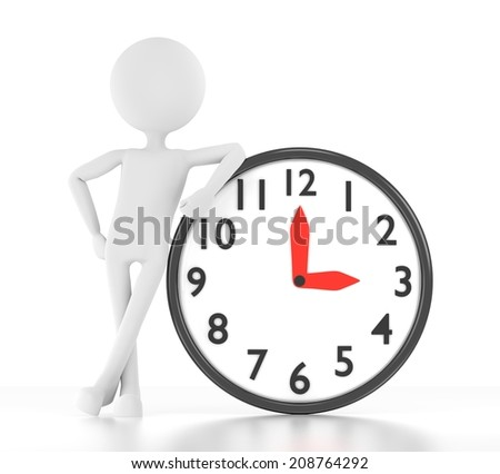 3d person leans on clock that says 03:00