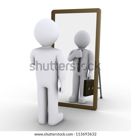 3d person looking at mirror and sees himself as businessman