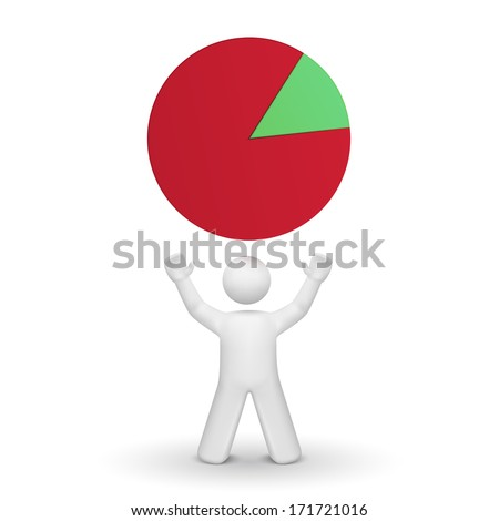 3d person looking up at pie chart isolated white background