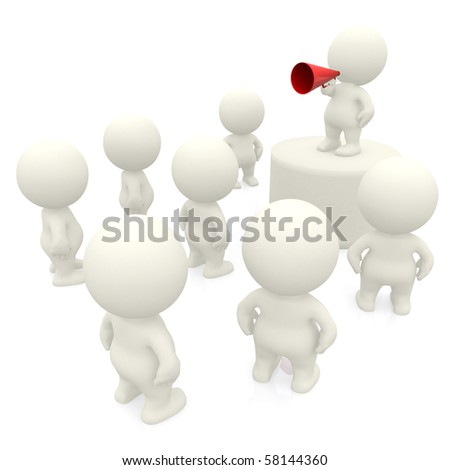 3d person making a speech on loudspeaker isolated over a white background - stock photo