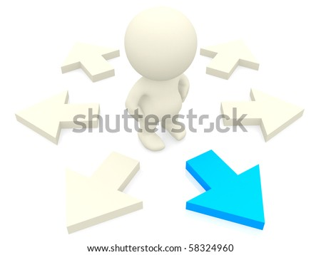 3D person making the right choice isolated over a white background - stock photo