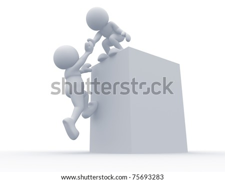 3d person - man helping - stock photo
