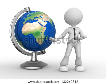 3d person - man, person and the earth globe. Elements of this image furnished by NASA.