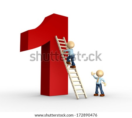 3d person - man, person is climbing a ladder that leads at the top of the number one - stock photo