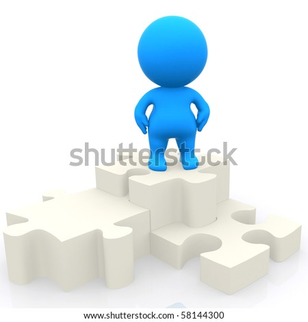 3d person on a podium puzzle isolated over a white background