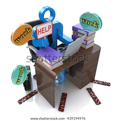 3d person overworked. Stress in the office in the design of information related to office work. 3d illustration - stock photo