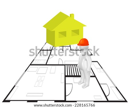 3D person, plan and house as civil engineering concept - stock photo