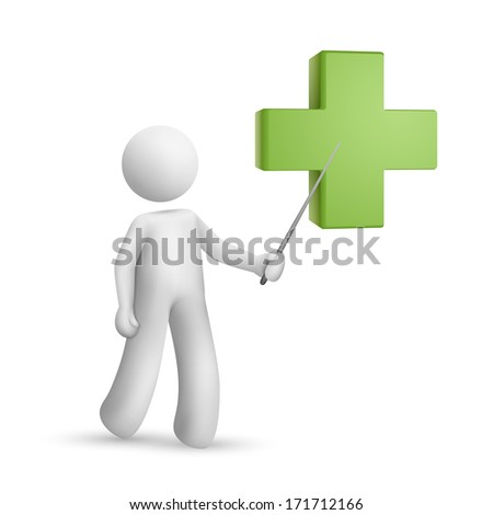 3d person pointing at a green cross isolated white background - stock photo