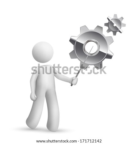 3d person pointing at gears isolated white background - stock photo