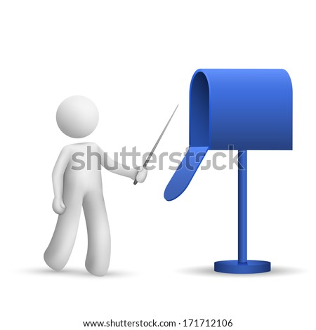 3d person pointing to a mail box isolated white background
