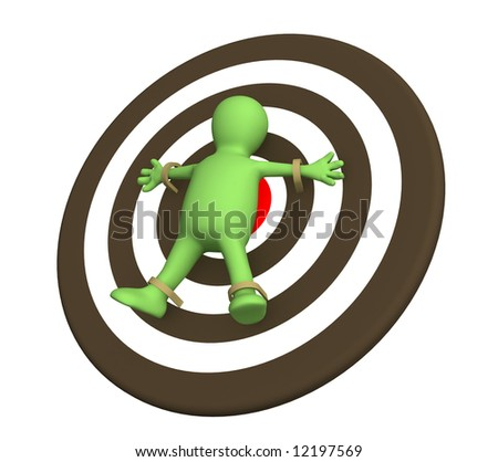 3d person puppet adhered to target. Object over white - stock photo