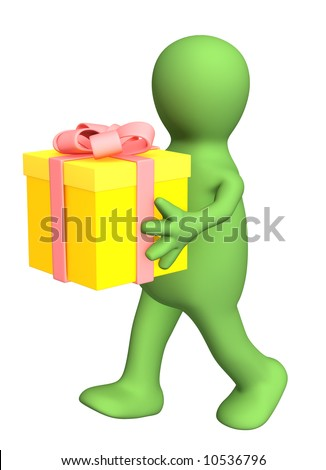 3d person - puppet, gift carrying in hands. Objects over white