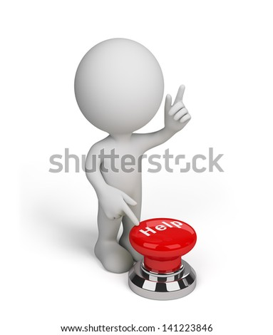3d person, pushing a red button help. 3d image. White background.