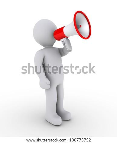 3d person shouting through megaphone - stock photo