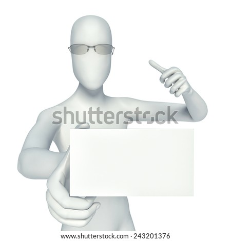 3d person showing blank small business card - stock photo