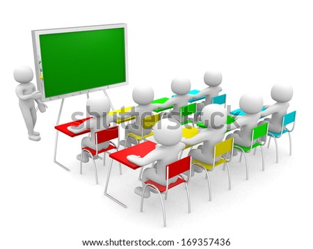 3d person showing the blackboard by hand. 3d render  - stock photo