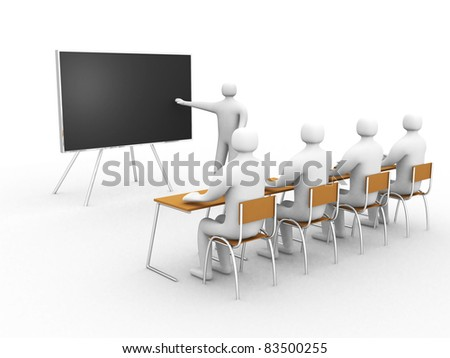 3d  person showing the blackboard by hand. this is a 3d illustration - stock photo