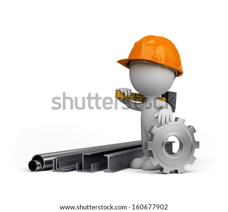 3d person showing the products of heavy industry. 3d image. White background. - stock photo