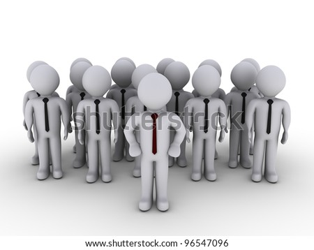 3d person standing in front of others as head of the team - stock photo