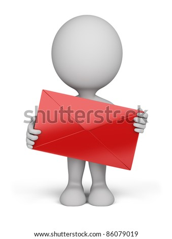 3d person standing with a red letter in his hand. 3d image. Isolated white background. - stock photo