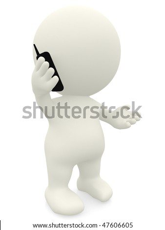 3D person talking on the phone - isolated over a white background - stock photo