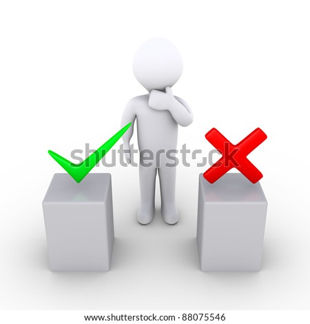 3d person thinking behind two podiums which have right and wrong symbols - stock photo