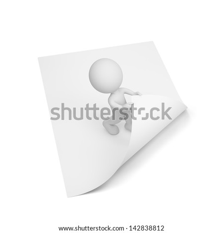 3d person turns the page. 3d image. White background. - stock photo