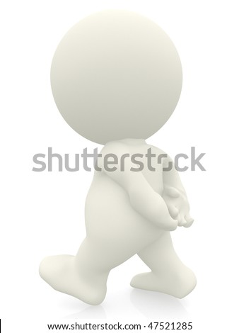 3D person walking  with hands behind - isolated over a white background