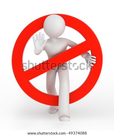 3d person warned you to STOP! - stock photo
