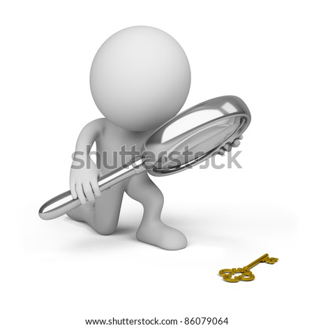 3d person with a big magnifying glass looking at the golden key. 3d image. Isolated white background. - stock photo