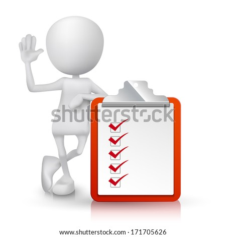 3d person with a clipping note pad and check list - stock photo