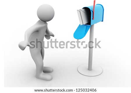 3d person with a mailbox - stock photo