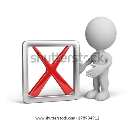 3D person with a negative symbol - a red cross. 3d image. White background.